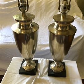 Streamline Moderne steel urn lamps