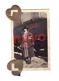 "Bonnie Parker In Front of Train Car, ""O"" Is Visible On The Car, 1 5/8"" x 2.5"""