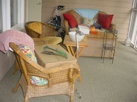 Some of the screened porch wicker set