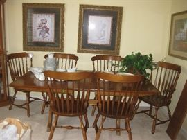 Large farm style trestle table, two leaves, and 6 chairs