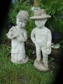 Outdoor Amish Boy & Girl Cement Decor