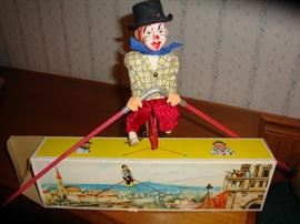 1950's German made FEWO Unicycle Tightrope Clown w/ Original Box