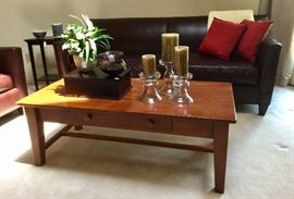 Sofas and chairs by Crate & Barrel. Solid wood coffee table.