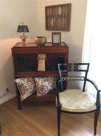 Lawyers case, custom throw pillows, regency chair, textile artwork