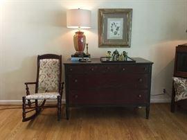 Antique, nailhead rocking chair, restored dresser - GREAT piece!!!!!!! Chinoiserie mud figurines