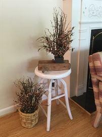 Shabby chic stool, home decor, antique rope spool