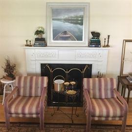 Artwork, custom upholstered chairs, decor