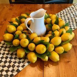Lemon wreath, Mackenzie-Childs table runner