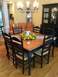 Distressed dining table; 4 leg, one extension leaf, 6 ladder back chairs included. Great piece!