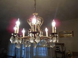Working glass prism chandelier