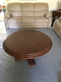 Hide-a-bed Sofa / Round Solid Wood Coffee Table