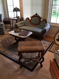 Antique Sofa / Settee , Marble Top Table