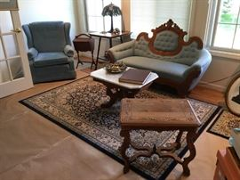 Antique Sofa/Settee / Marble Top Table