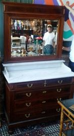 French Mahogany Dresser with Dore Bronze Pulls & Marble Top