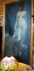 Large Oil Painting - Eve Tempting Adam - by Ann C. Hartma Swedish Artist