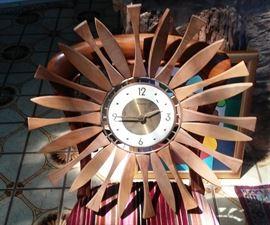 Rare Forrestville Mid Century Teak Wood Sunburst Clock