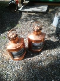 Pair of copper ships lanterns