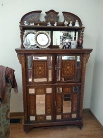 Antique English inlaid mahogany and mirror china cupboard