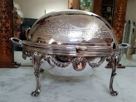 Antique English silverplate bacon server