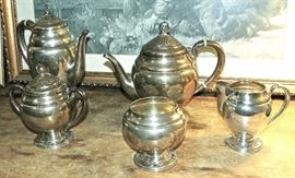 "5- Pc.  Sterling  Tea Set  International Silver,  pattern  ""Spring Glory"""