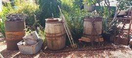 wine barrels - galvanized buckets and tubs - GIANT ice tongs - DOW metal barrel - logging chain - potato dolly/handcart