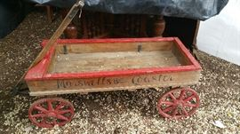 """Marswells Ball Bearing Coaster"" - incredible antique wooden wagon, great condition!"