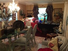 In the Dining Room you will find wonderful Christmas and vintage glass. The window treatments and rods are also for sale.