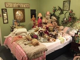 The Doll Room is every little girls dream and may be some big one too!!  The dolls are wonderful, vintage and collectable.  The three bears are made by TIlly and are just beautiful. Lots of doll accents pieces