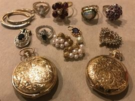 More 14k rings, earrings, pendants etc. with two 14k ladies Waltham pocket watches in perfect working order.