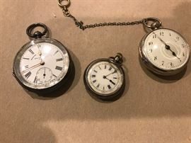 More pocket watches, sterling & coin silver.  Two of three are in working condition.