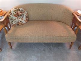 60's settee with maple frame