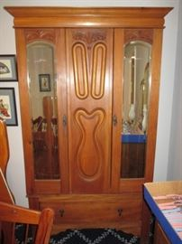 Beautiful antique wardrobe with clothes bar
