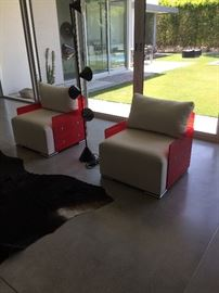 Glassisimo Red and White Side Chairs