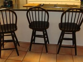 3 swivel bar chairs, black
