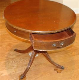 Mersman  Mahogany drum table 29 in. with drawer