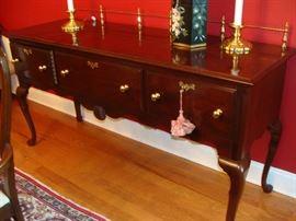 Lexington mahogany server w/brass gallery rail, 3 drawers, 68 in. long