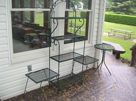 Plant stands and bakers rack.