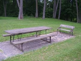 Picnic tables and benches.