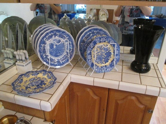 Assorted Blue/White Plates, England