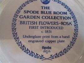 "Smaller Spode Plates ""British Flowers-Rosa"""