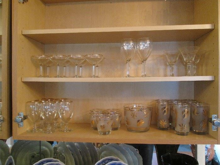 Stemware, Various Sizes, also Vintage Barware Ice Bucket, and High/Low-Ball Bar Glasses with Gold-Leaf Overlay