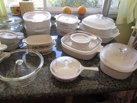 "Wonderful Assortment of Corning Ware.  Also, ""Glasbake"" Angel Food Cake Maker"