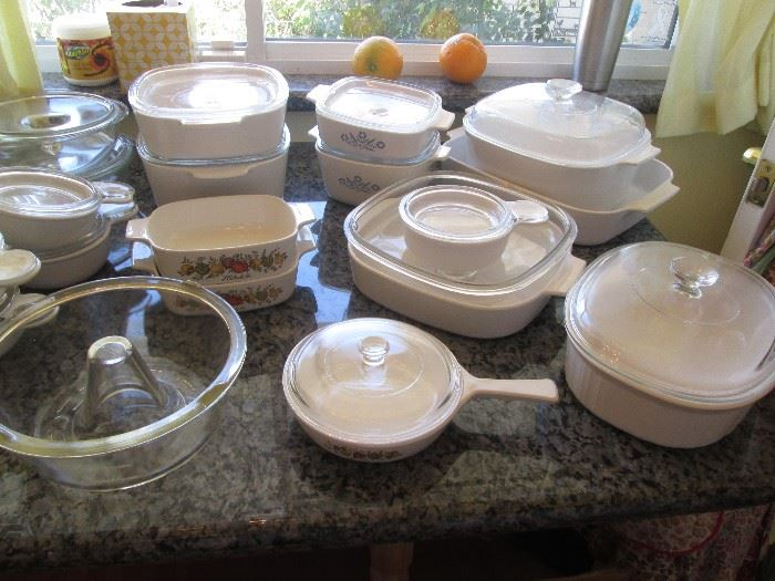 "Wonderful Assortment of Corning Ware.  Also, ""Glasbake"" Angel Food Cake Maker"