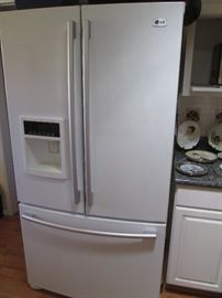 """LG"" Refrigerator #LFX25950SW, 3-Door with water/ice in the left door, White, 2007.  Beautiful, Clean and Working Great!"