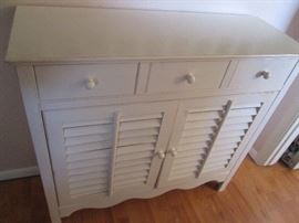 Storage Cabinet with Drawers and Louvered Doors