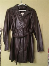 Berman's Ladies Leather Coat, Size 16