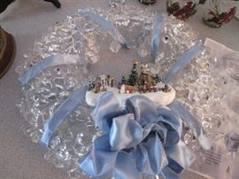 "Kinkade ""Light Of Christmas"" Wreath, NIB, Extra Ornaments Included"