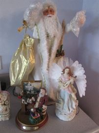 "Kinkade Figurine of Santa at Fireplace, plus ""White Christmas Santa"" by Ashton Drake"