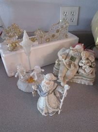 Holiday Figurines; some Lenox and Reindeer with Sleigh in acrylic/gold
