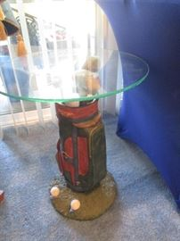 Golf-themed Accent Table/Glass Top